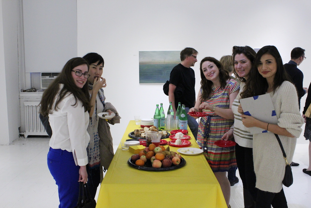 Students Elizabeth Meyers, Lawana Poopopsokul, Perri Schneider, Kaitlin Mazzei and Melina DiMarco at the 2012 Exhibition opening; Professor Chris Wright in the background.