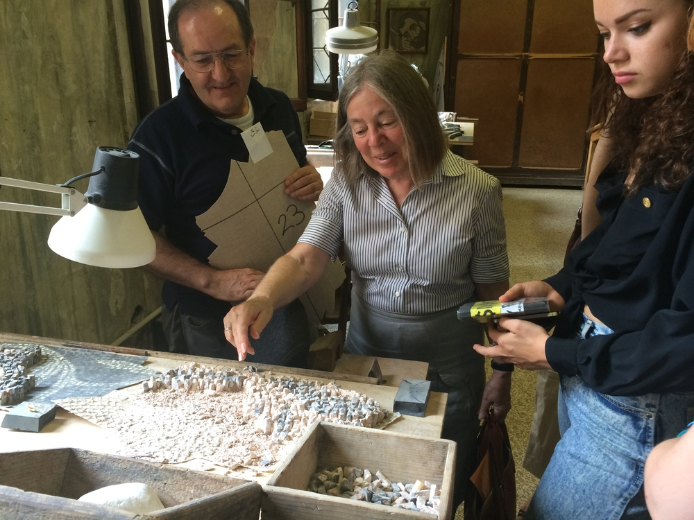 Students study current mosaic conservation efforts at the Conservation Studio of the Basilica di San Marco.