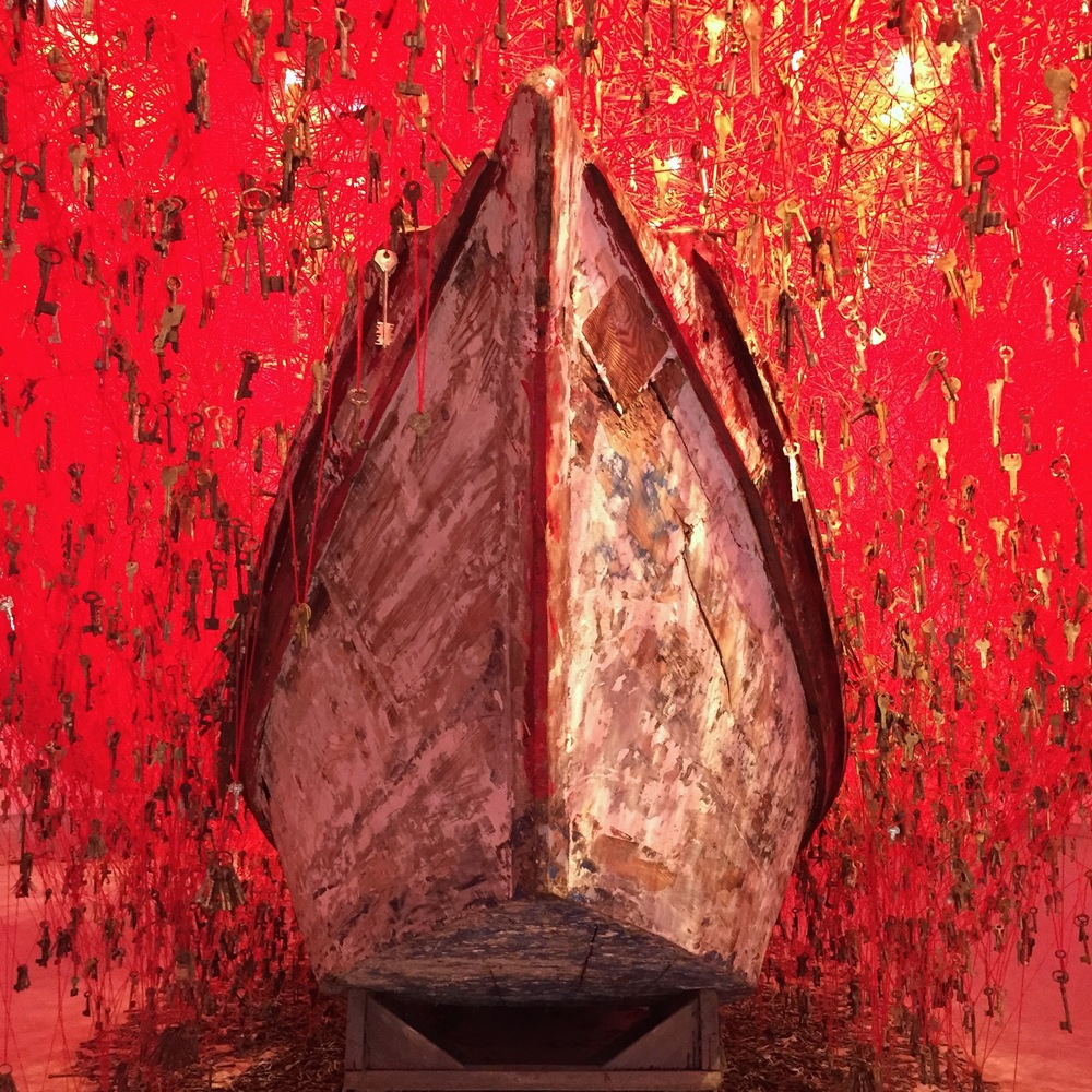 "Chiharu Shiota's ""The Key in the Hand"" (Japan Pavilion). (photo: Polly Cancro)"