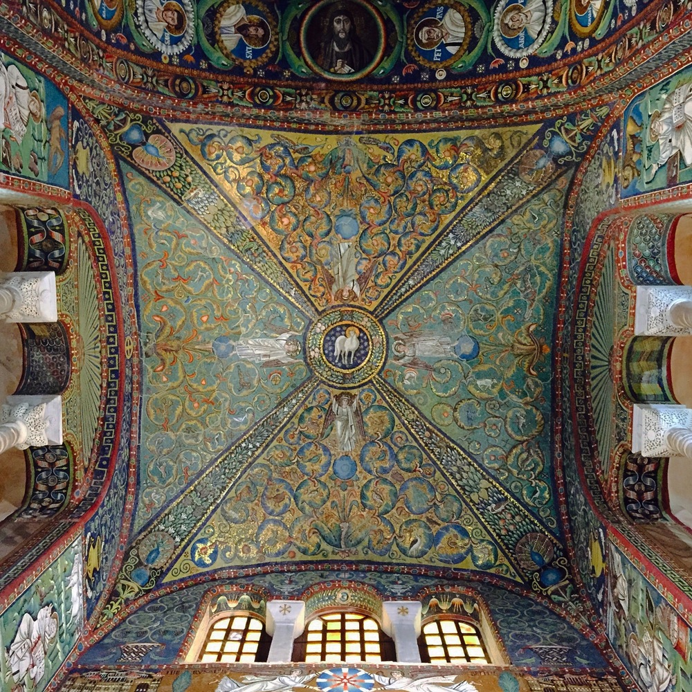 View of the mosaicked ceiling at San Vitale (Ravenna).