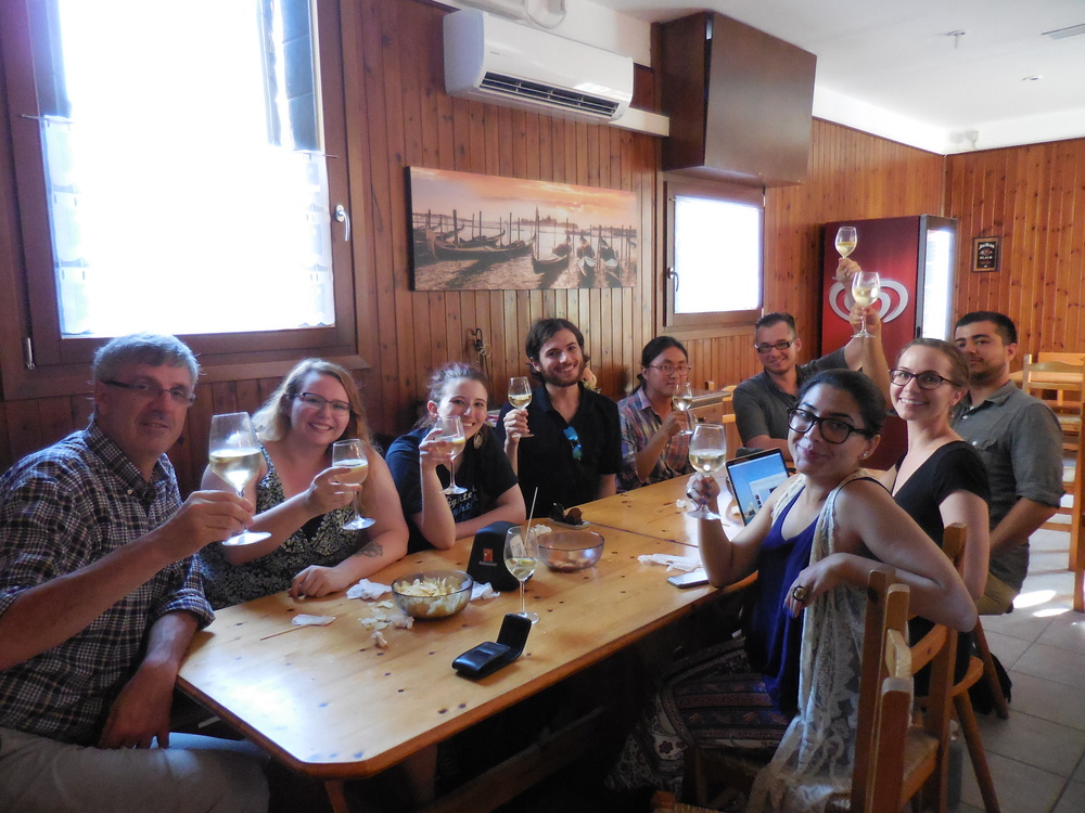 Celebration near UIA following the Materials and Techniques students' presentations. (Back row, left to right: Massimo Angeletti, Alexandra Price, Trish Kaiser, Neil Creveling, Sungwon Hong, Joe Kopta. Front row, left to right: Minaa Mohsin, Polly Cancro, Anthony Vazquez).