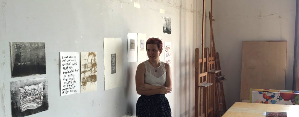 Pratt in Venice 2015 undergraduate Fine Arts student Brianne McKain presents her prints in the end-of-program critique.