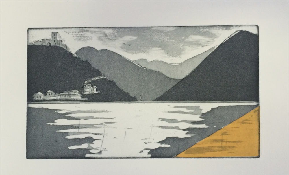 Elizabeth Spearman's print, a take on Cristo's installation at Lago d'Iseo, on view during the program in Lombardy.