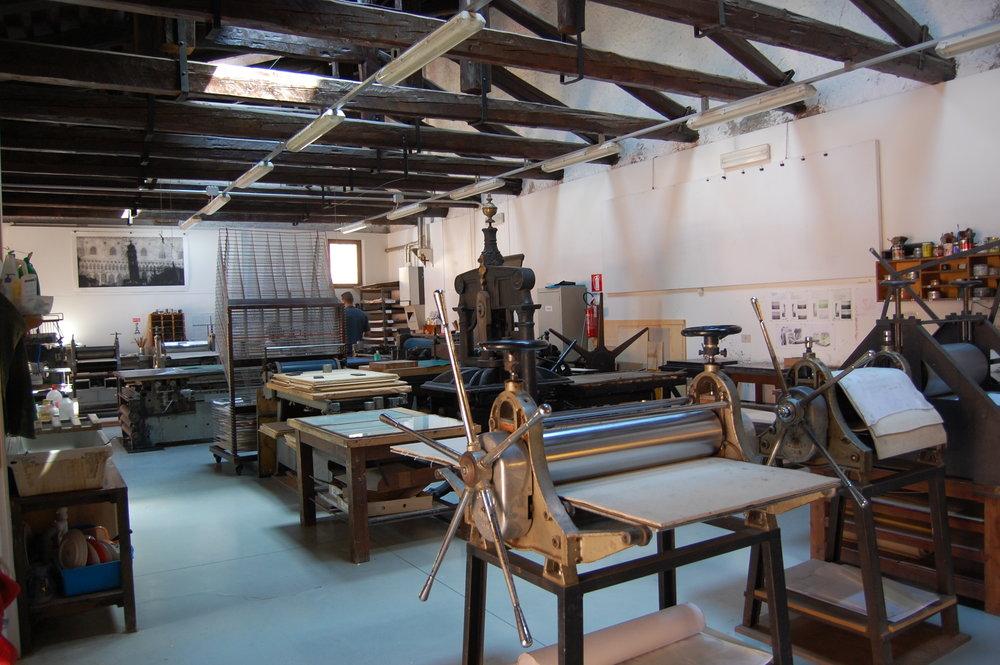 Printmaking studio at Scuola di Grafica
