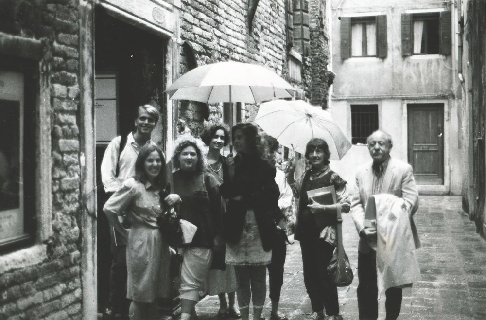 Faculty and students near the Palazzo Fortuny (1988)