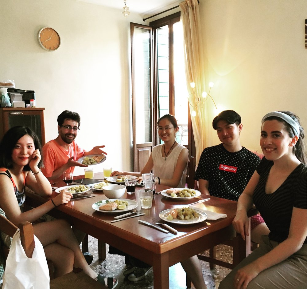 Safiye Senturk cooked dinner at the Via Garibaldi apartment for students Valen Zhang, Nick LaPole, Peixuan Li, and Chung Jae Lee