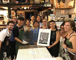 Pratt in Venice Printmaking students with their Venetian studio assistant, Roberta Feoli, 2017