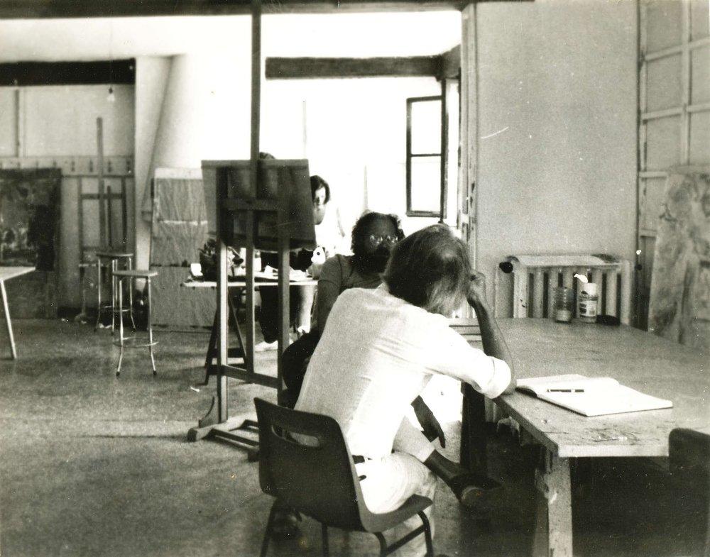 Erik Lurio and Ted Kurahara in the Painting Studio