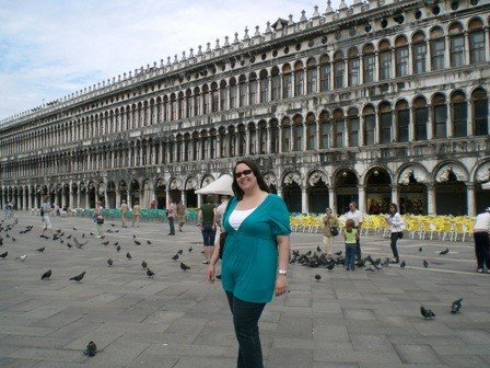 Flaherty in Piazza di San Marco during her time as a Pratt in Venice participant (2007).