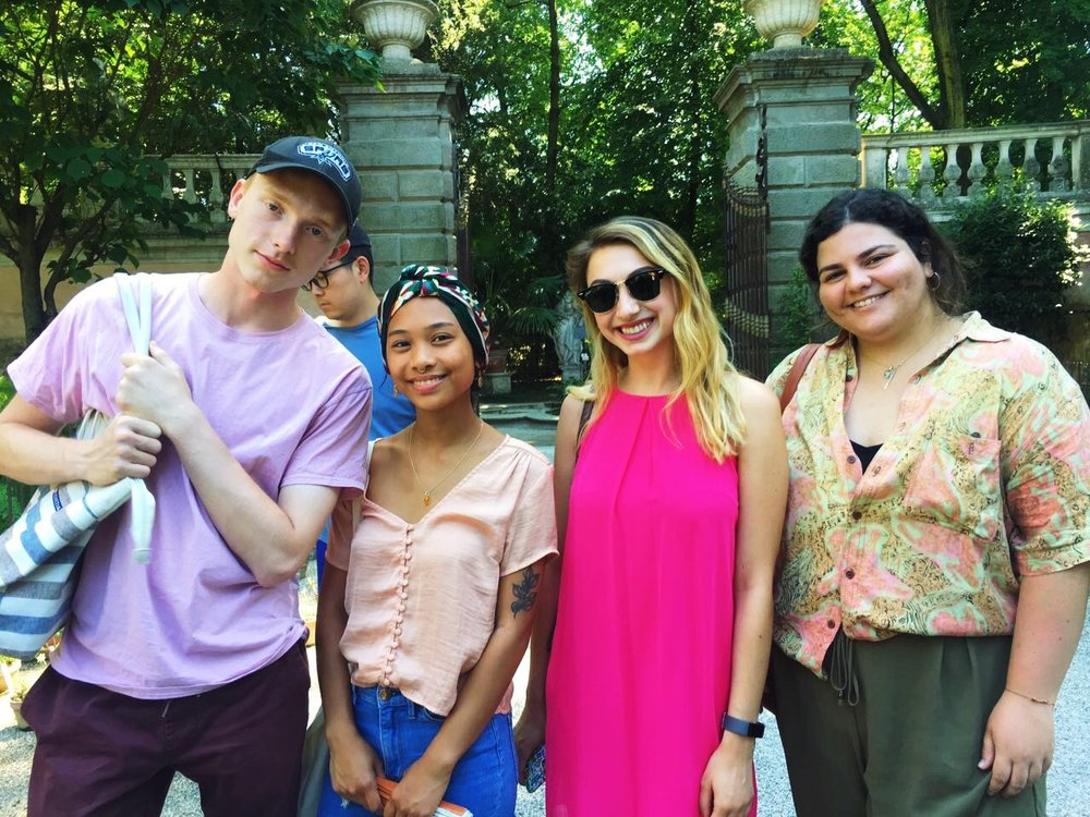 Christian Harding, Nichollette Manicad, Skyler Elfeldt, and Blanca Uribe at the Botanical Garden in Padua