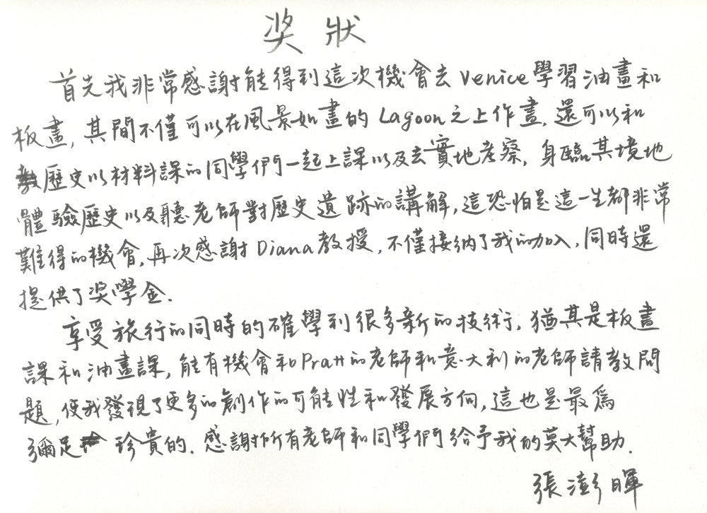 Penghui Zhang's original testimonial before translation.