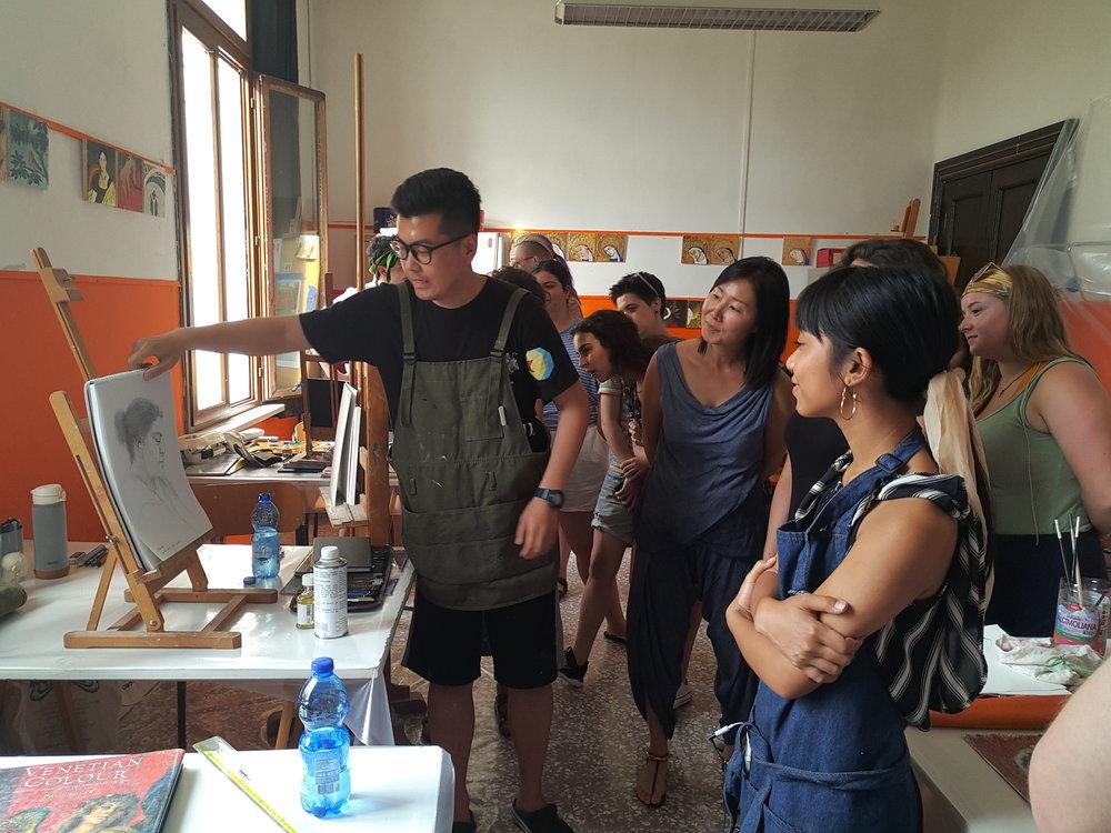 Penghui at a mid-program critique at UIA