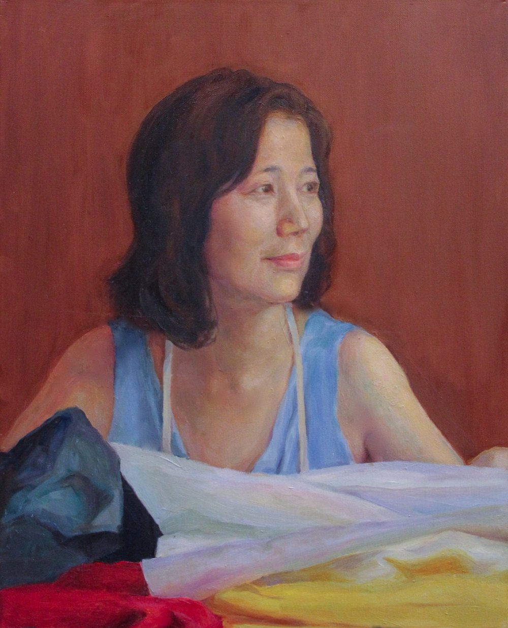 "Penghui Zhang, ""Portrait of Aomi"" (oil on canvas)"