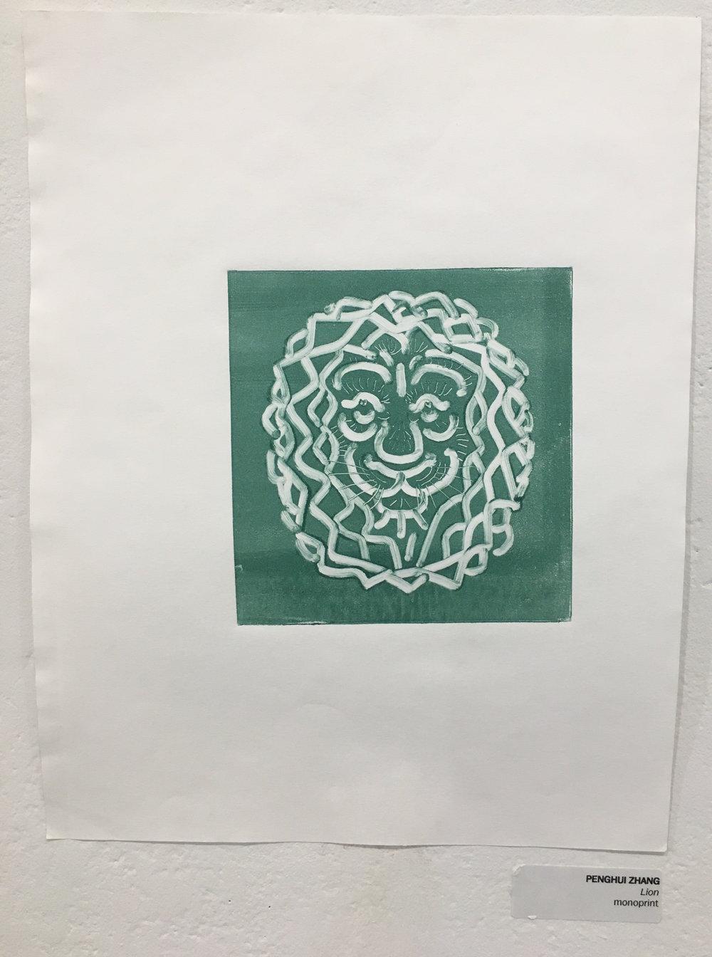"""Penghui Zhang, """"Lion"""" (monoprint)"""