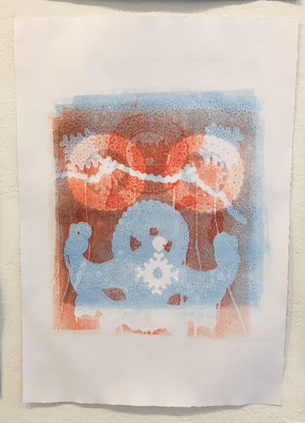 "Aubrey Roemer, ""Venetian Mask VI"" (collograph print)"