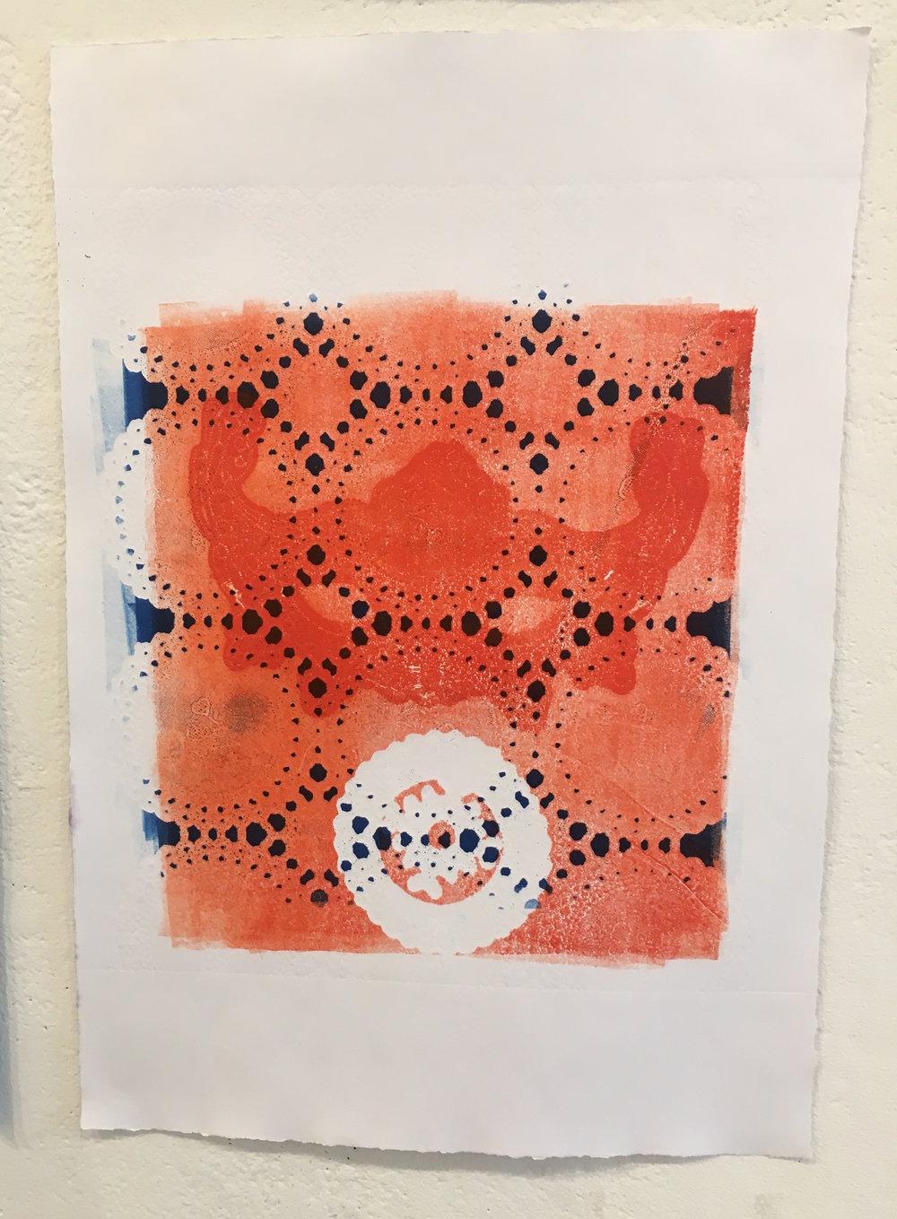 "Aubrey Roemer, ""Venetian Mask VIII"" (collograph print)"