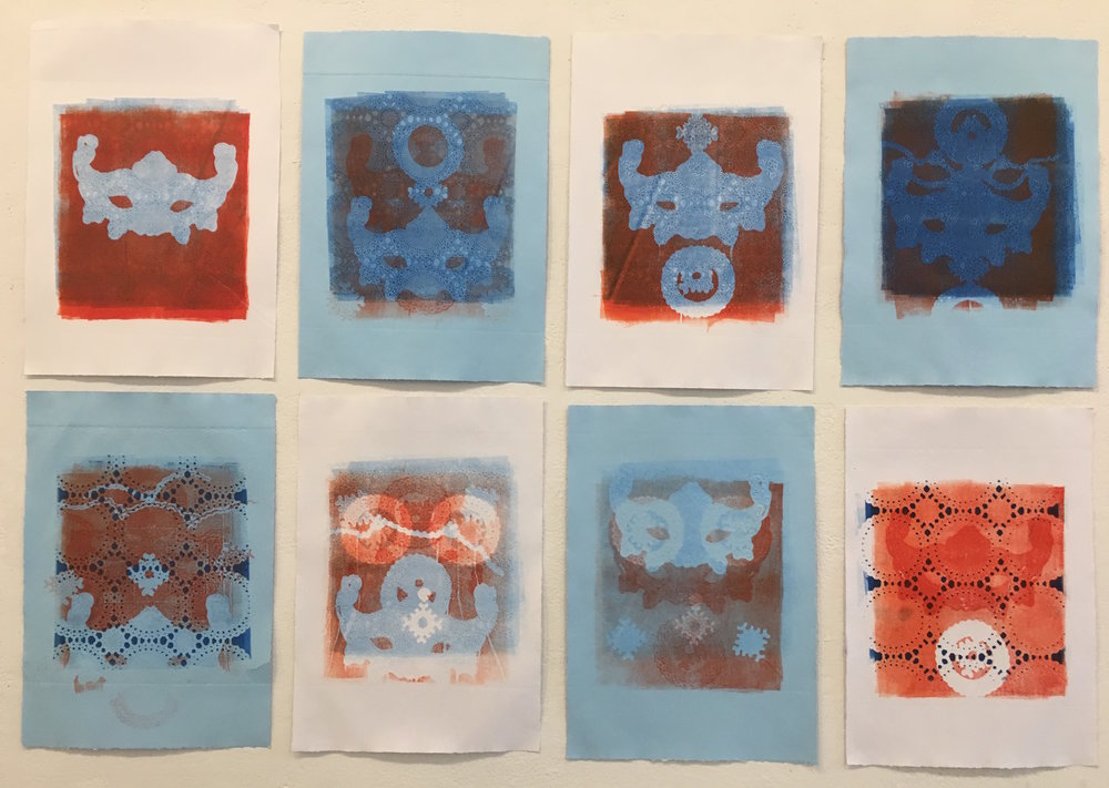 "Works by Aubrey Roemer, ""Venetian Masks I- VIII"" (collagraph prints)"