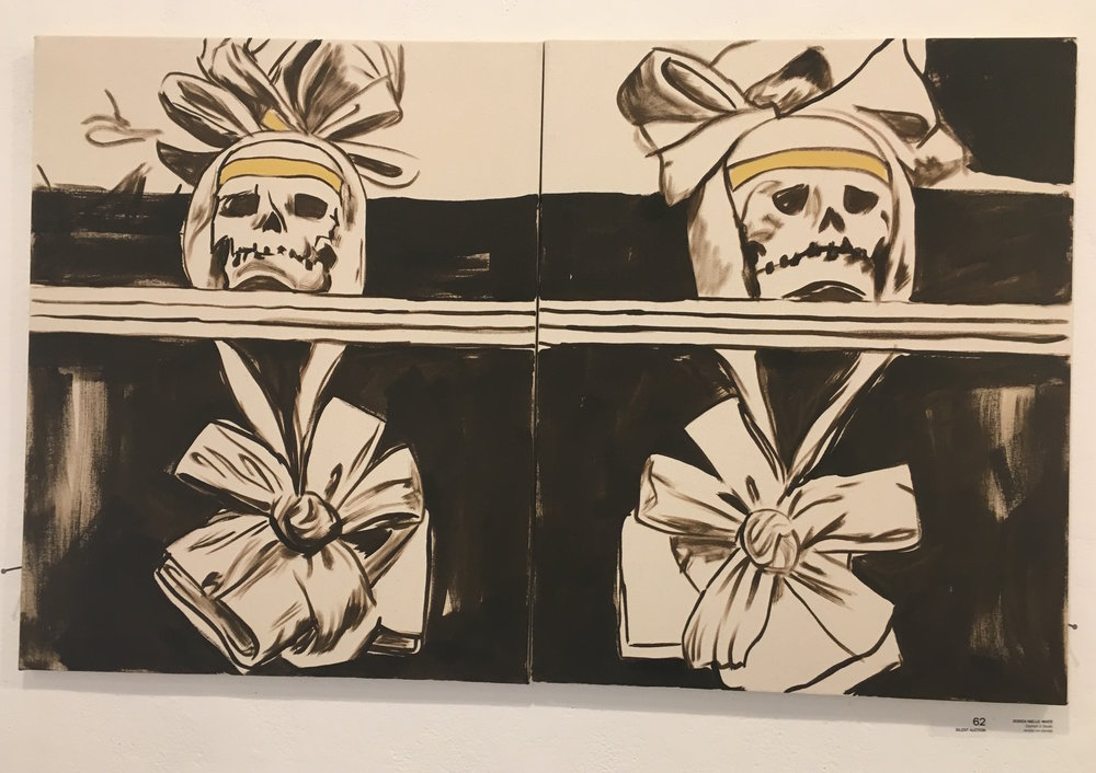 "Jessica Niello- White, ""Diptych 2 Skulls"" (acrylic on canvas)"