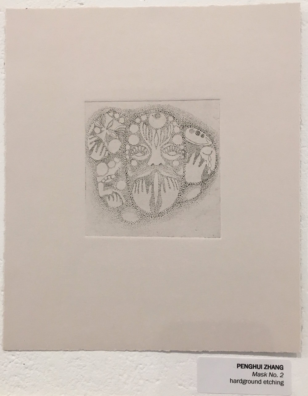 "Penghui Zhang, ""Mask No. 2"" (hardground etching)"