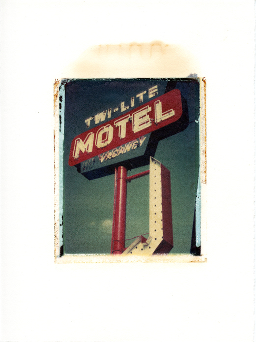 "Twi-Lite Motel side, Wisconsin Dells , Wisconsin, Polaroid Transfer on hot press watercolor paper, 6"" x 7.5"", 2012"