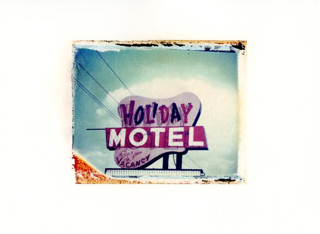 "Holiday Motel, Wisconsin Dells, Wisconsin ,Polaroid Transfer on hot press watercolor paper,7.5"" x 6"", 2012"