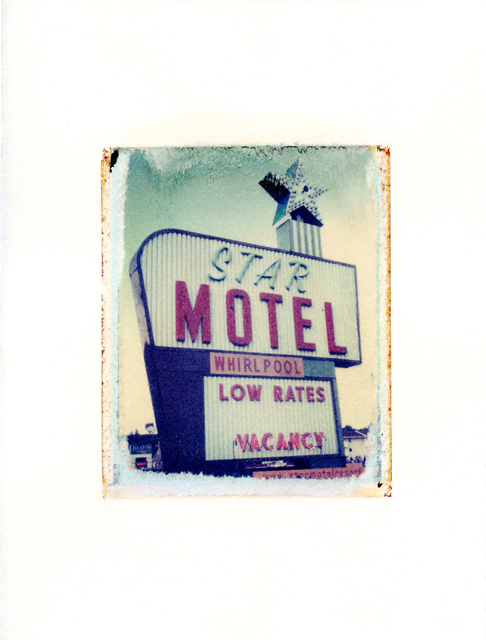 "Star Motel, Wisconsin Dells, Wisconsin , Polaroid Transfer on hot press watercolor paper, 6"" x 7.5"", 2012"