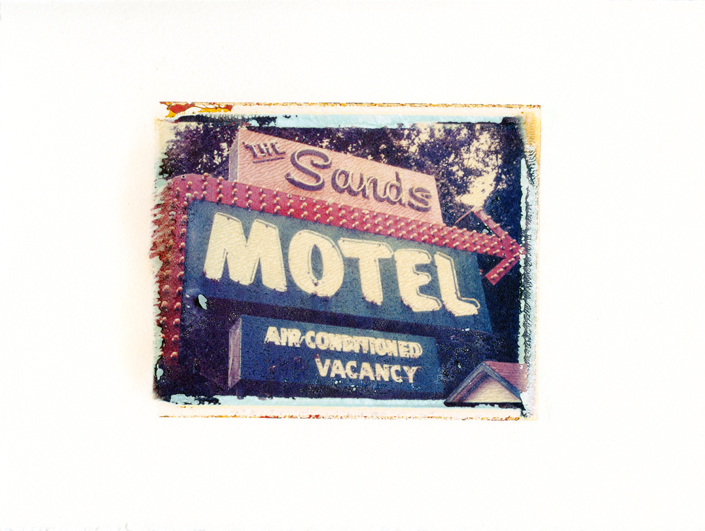 "The Sands Motel, Gainesville, Florida , Polaroid Transfer on hot press watercolor paper, 6.75"" x 6"", 2012"