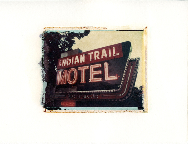 "Indian Trail Motel, Wisconsin Dells, Wisconsin , Polaroid Transfer on hot press watercolor paper, 6.75"" x 6"", 2012"