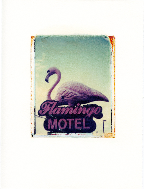 "Flamingo Motel, Wisconsin Dells, Wisconsin , Polaroid Transfer on hot press watercolor paper, 6"" x 7.5"", 2012"