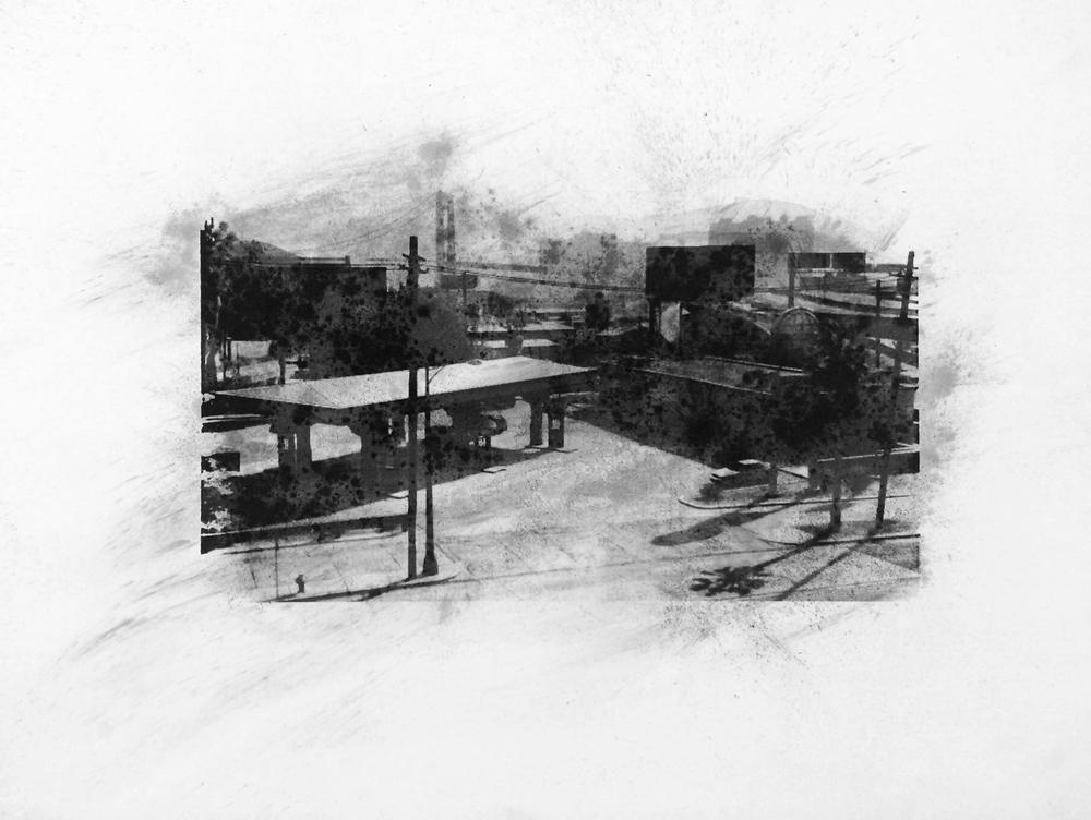 """Globe, La Puerta, Los Santos , Charcoal Screen Print, 18""""x24"""", 2016"""
