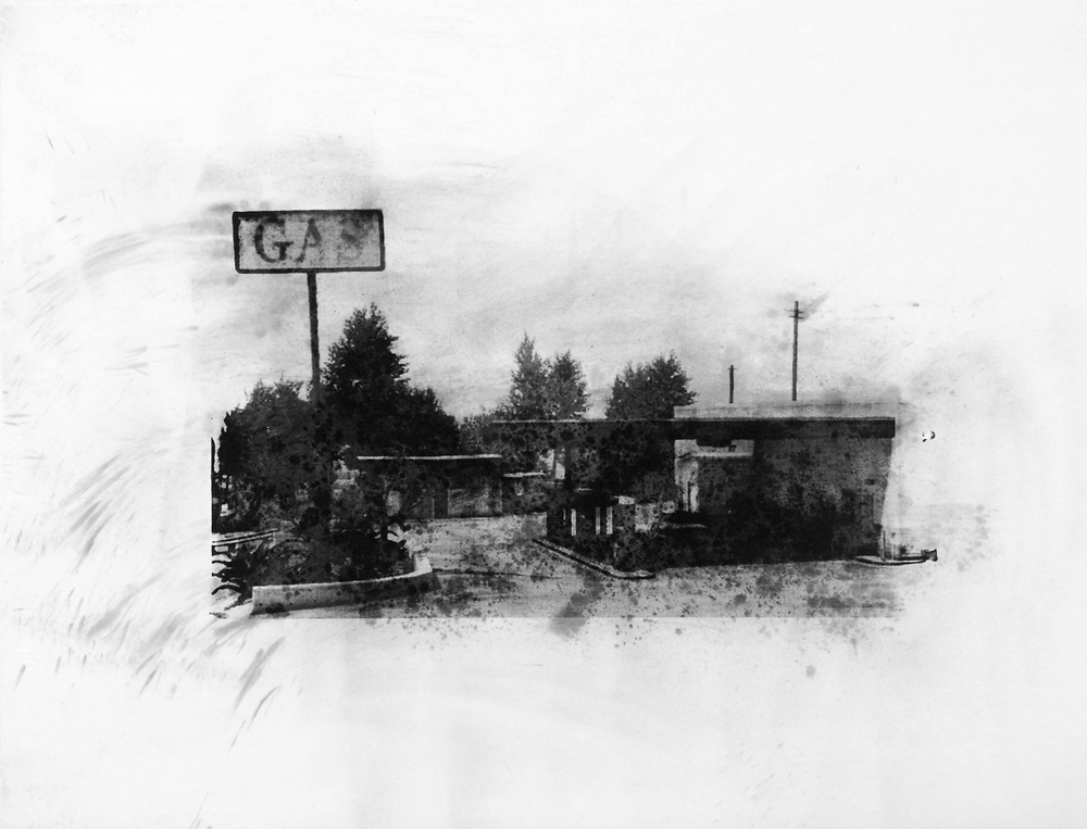 "Globe, Senora Freeway, Blaine County , Charcoal Screen Print, 18""x24"", 2016"