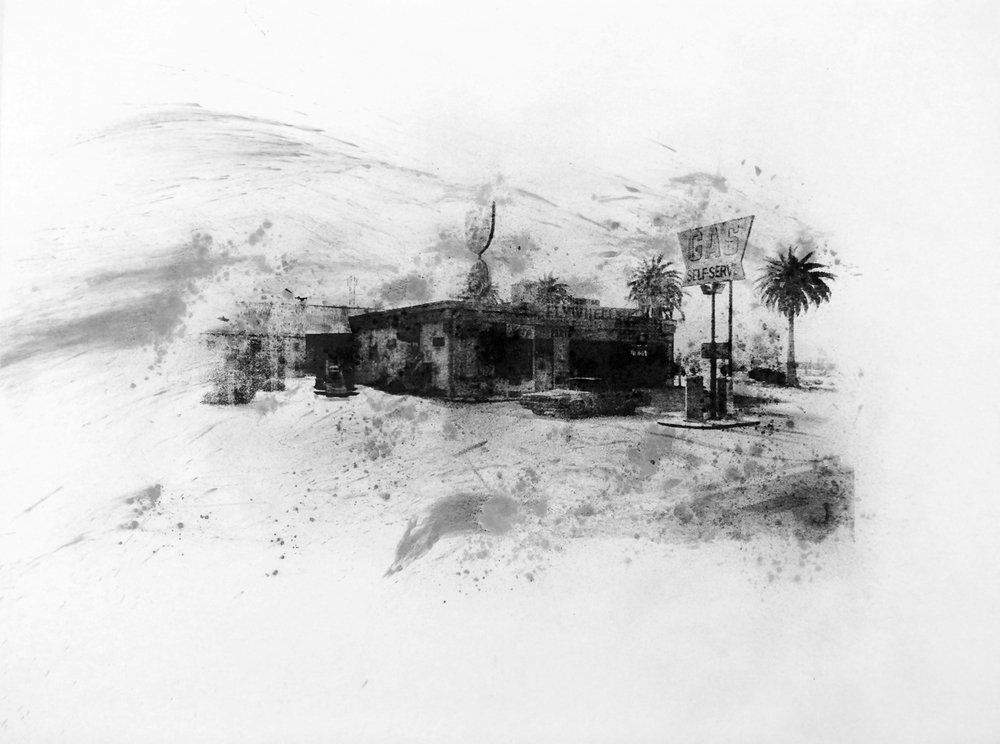 "Flywheels, Grand Senora Desert , Charcoal Screen Print, 18""x24"", 2016"