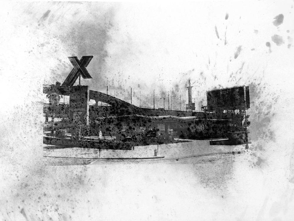"""Xero, La Puerto, Los Santos , Charcoal Screen Print, 18""""x24"""", 2016"""