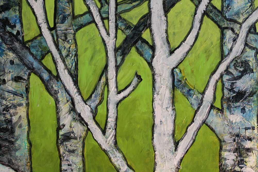 "Birch Trees on Spring Green, detail    Acrylic on Wood Panel (detail) 60"" x 38""  © 2014"