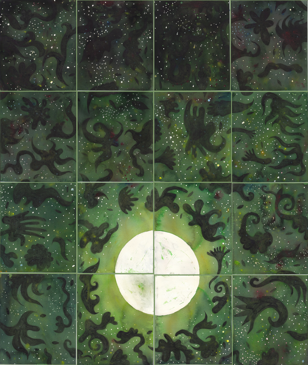 "Green Tea Moon   watercolor and gouache on 15 sheets of 140# Arches WC Paper with canvas strips and PVA / 40""x 38"" / 2012"