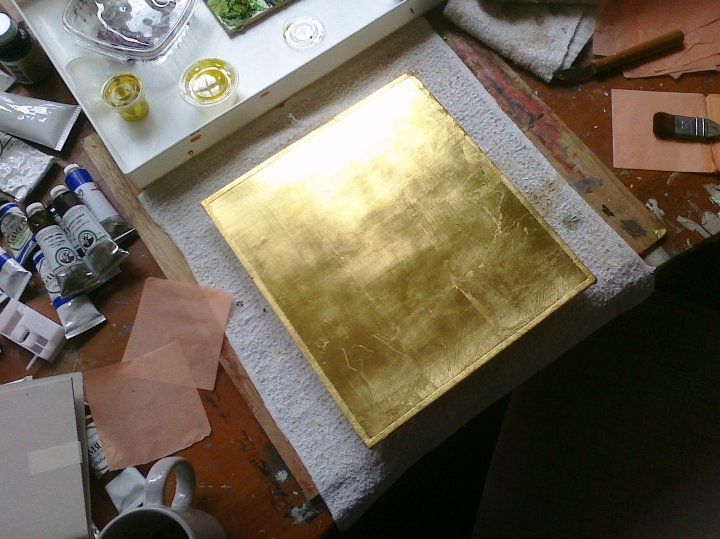 "Gold Leaf Wood Panel    24 Kt Gold Leaf on Traditional Gesso on Wood Panel 11.25"" x 10"" © 2010"