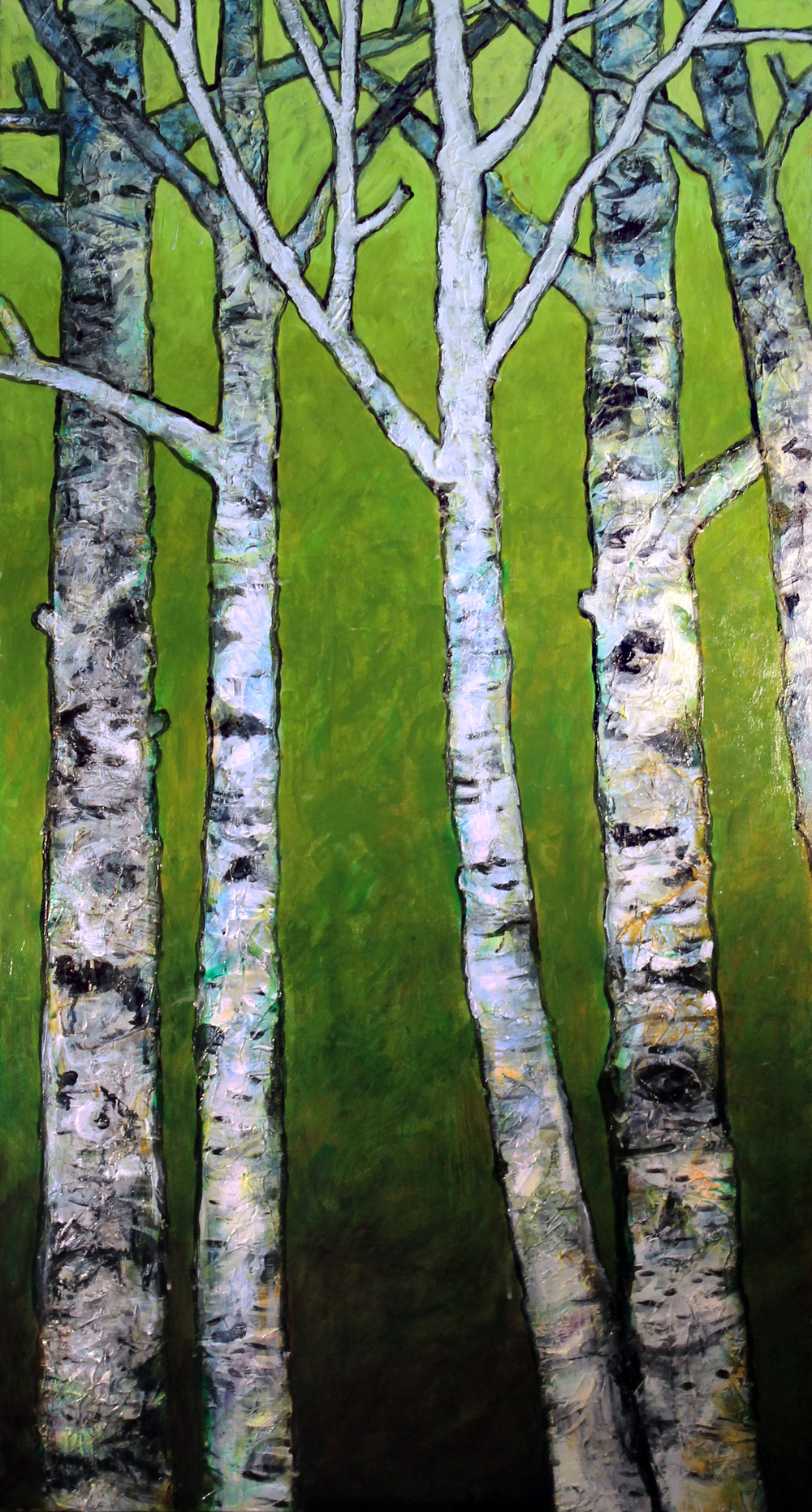 "Birch Trees on Spring Green    Acrylic on Wood Panel  60"" x 38""  © 2014"