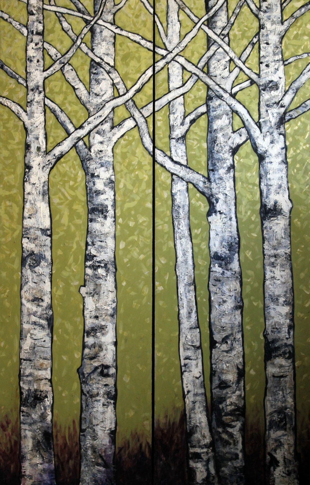 "Birch Tree Dyptich, Wasabi Green   Acrylic on Cradled Recycled Wood Panels 76"" x 48"" (76"" x 24"" ea.)  2014 Private Collection"