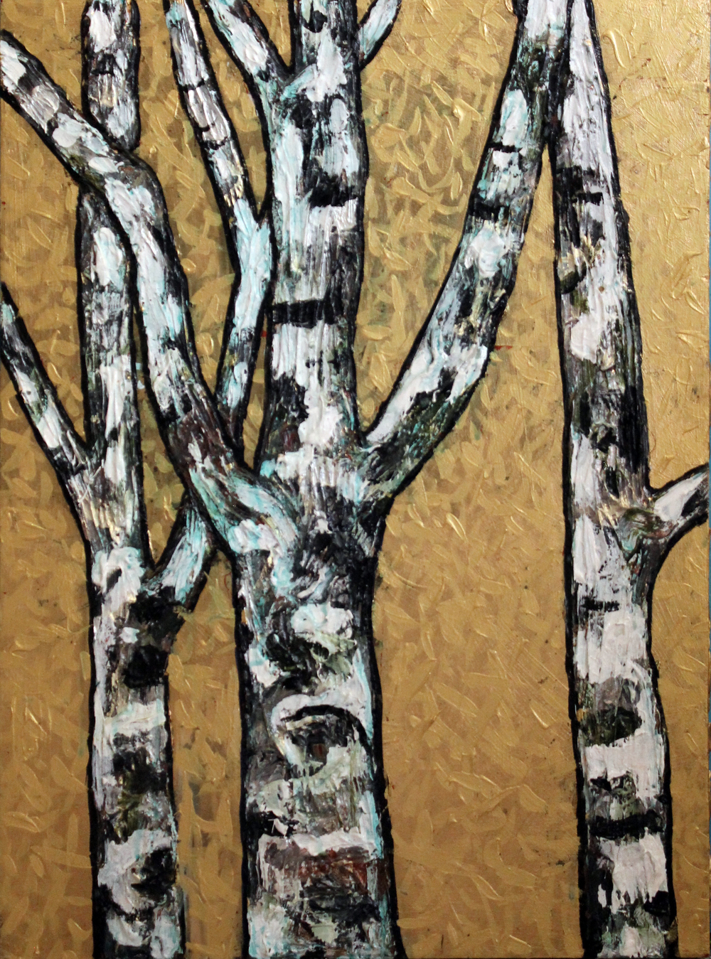 "Birch Trees on Gold Sky, #1    Acrylic on Wood Panel 30"" x 22"" © 2013"