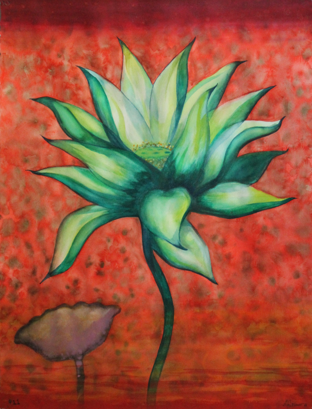 "Lotus    Watercolor on 140# Arches WC Paper 30"" x 22"" each  © 2012"