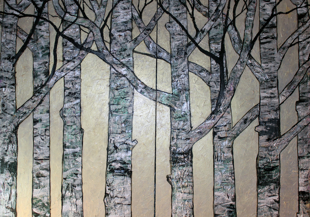 Birch Trees on Silvery Gold, detail