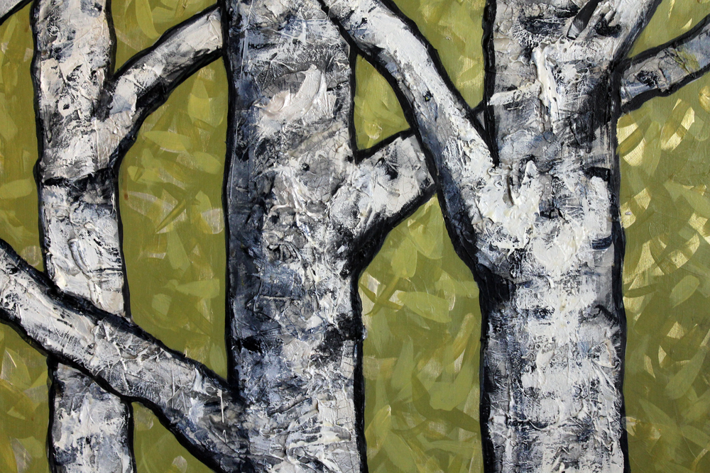 "Birch Tree Diptych, Wasabi Green, detail    Acrylic on Cradled Recycled Wood Panels (detail) 76"" x 48"" (76"" x 24"" ea.)  © 2014 Private Collection"