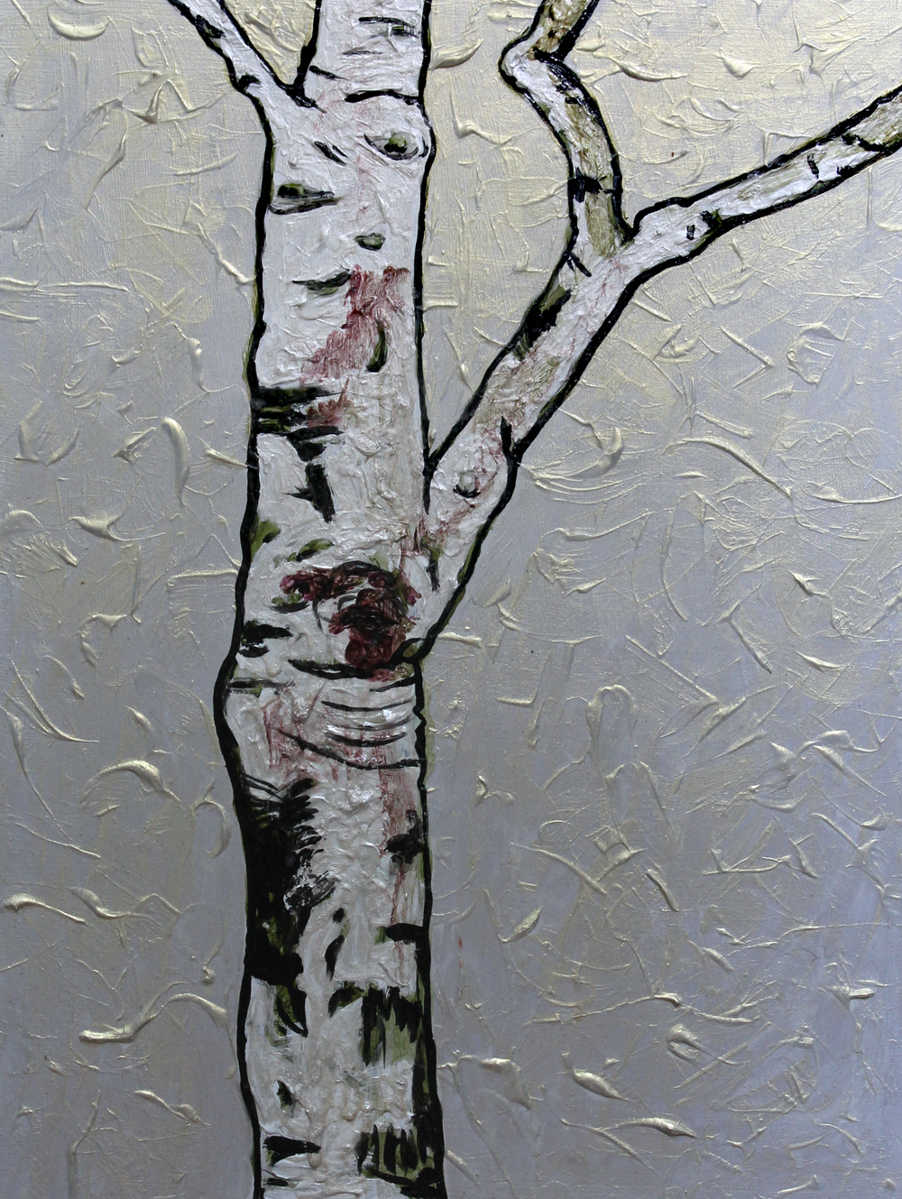 "Single Young Birch    Acrylic on Cradled Recycled Wood Panels 39"" x 24""  © 2013 Private Collection"