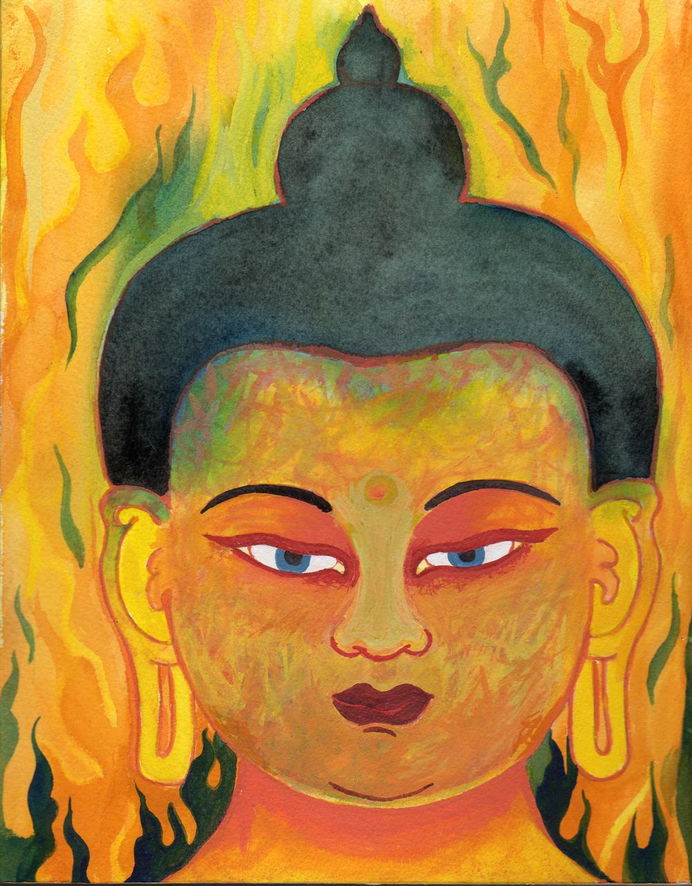 "Fire Buddha  Acrylic on Paper mounted on Wood 8"" x 7""  © 2012"