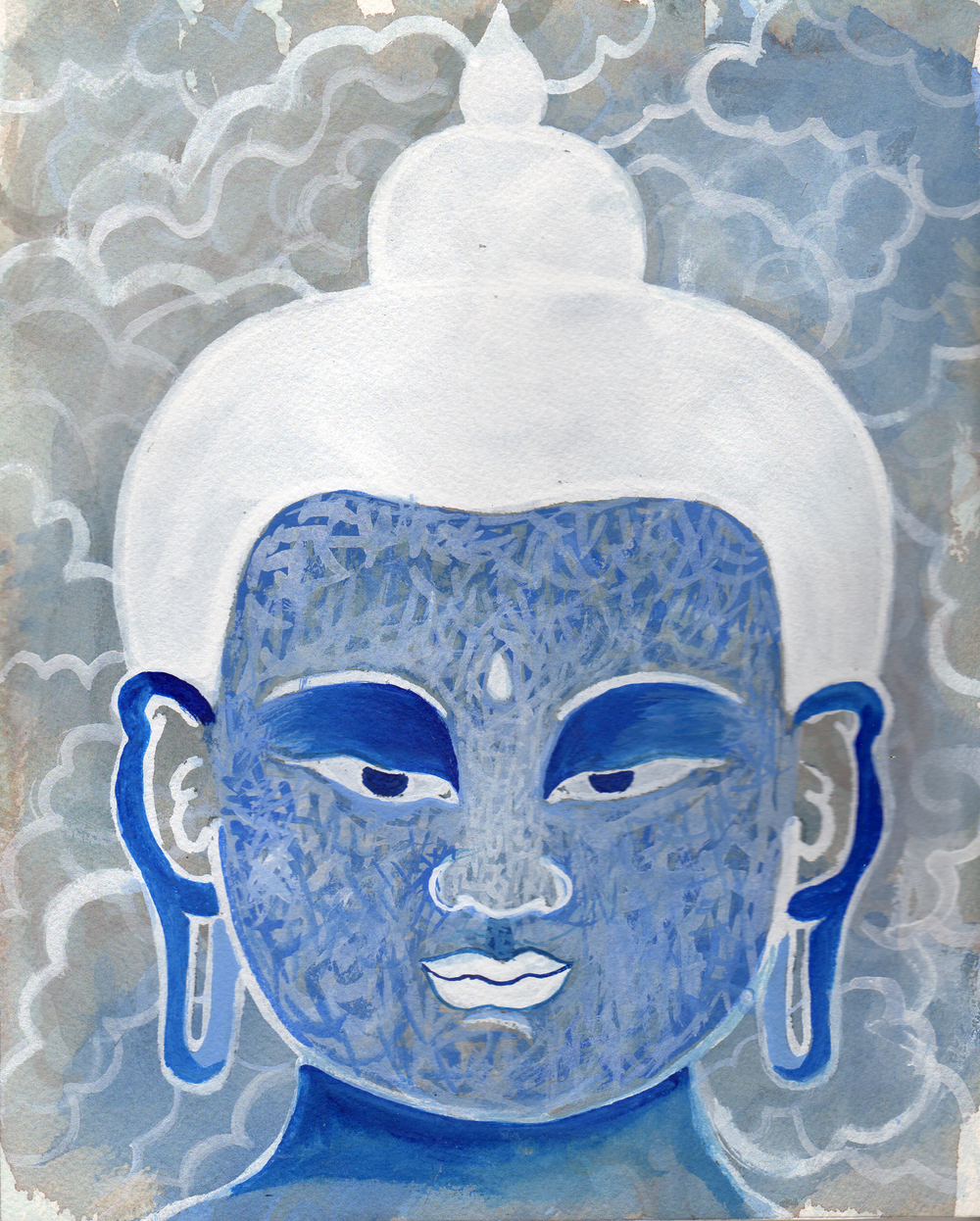 "Blue Cloud Buddha    Watercolor and Gouache on Paper 8"" x 7"" © 2012"