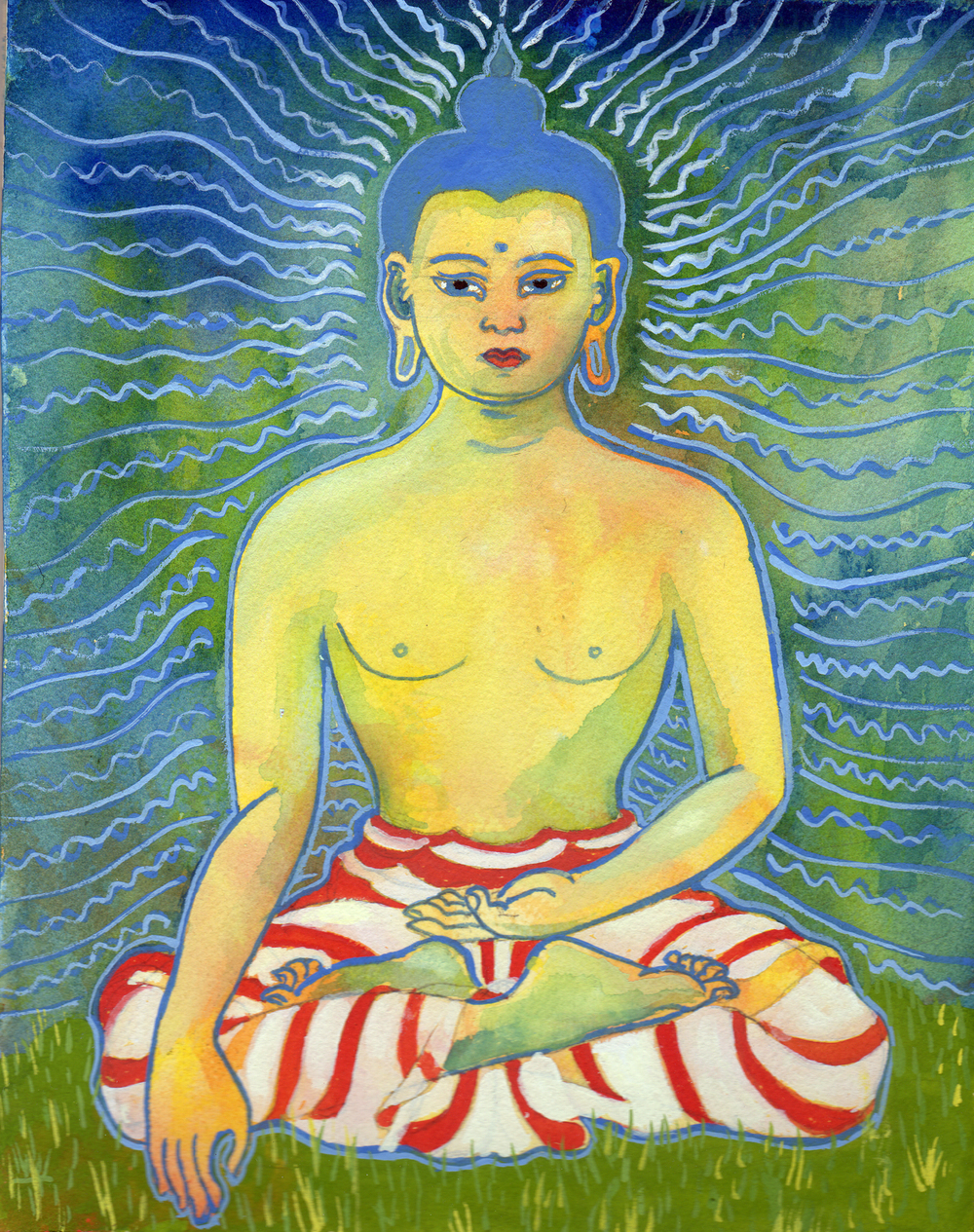 Buddha On The Lawn    Watercolor and Gouache on Paper © 2011     (private collection)