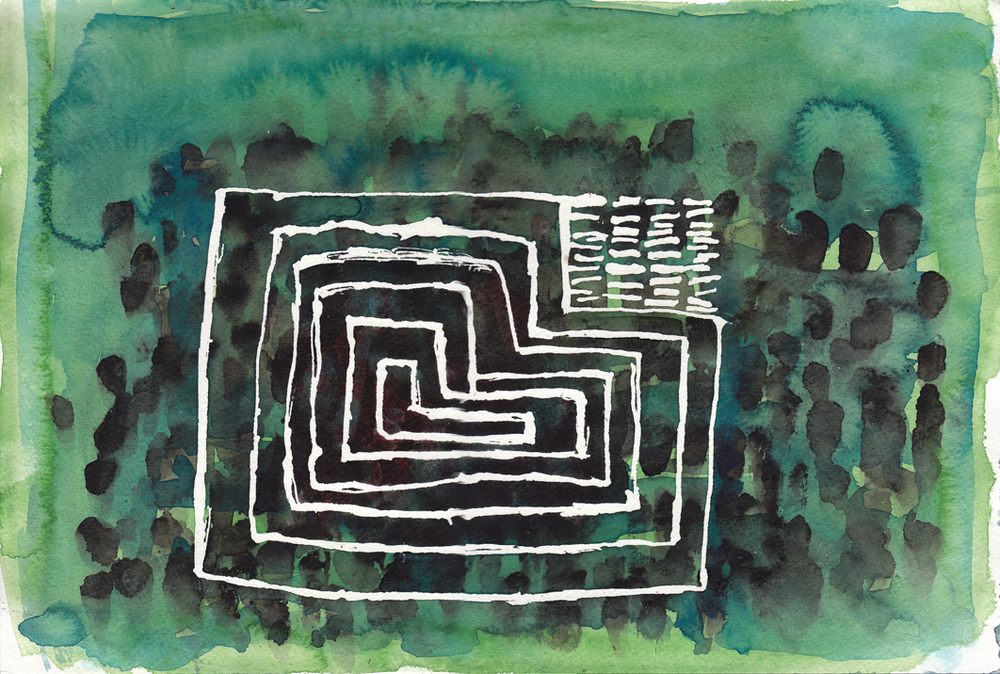 "Maze and Stone Garden   Watercolor on Paper 12"" x 18""  © 2010  (Green Day Series, 2008-2011)"