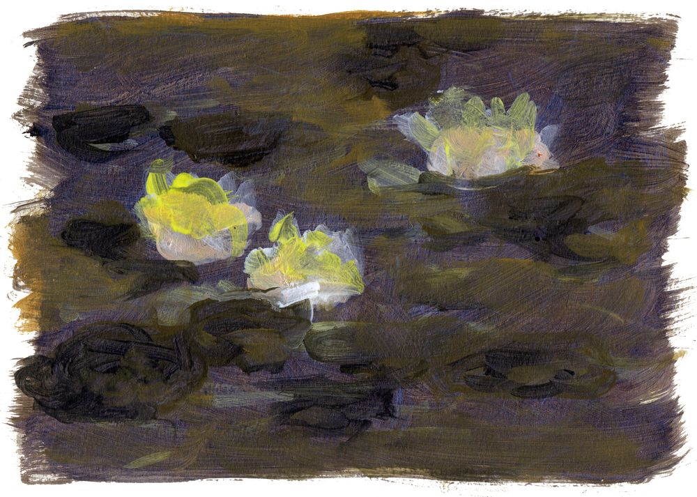 "Lily Pond 2   Acrylic on Paper 8.5"" x 11.75"" © 2014"