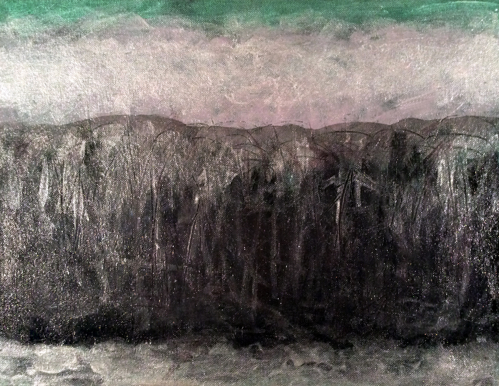 "Black Hill   Iridescent, Interference and Acrylic on Canvas 11"" x 14""   © 2014"
