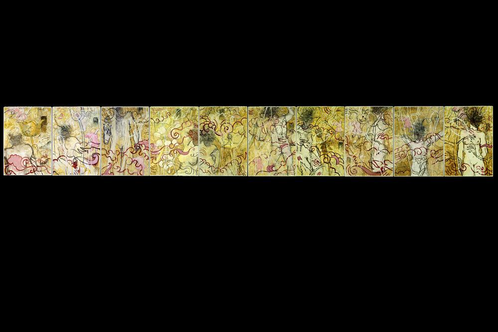 """Ten Laments   Oil, Beeswax, Gel on Gessoed BFK Rives Paper 41.5"""" x 295"""" (each sheet 41.5"""" x 25"""") 2002"""